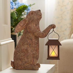 "15"" Bunny with Illuminated Lantern by Valerie"